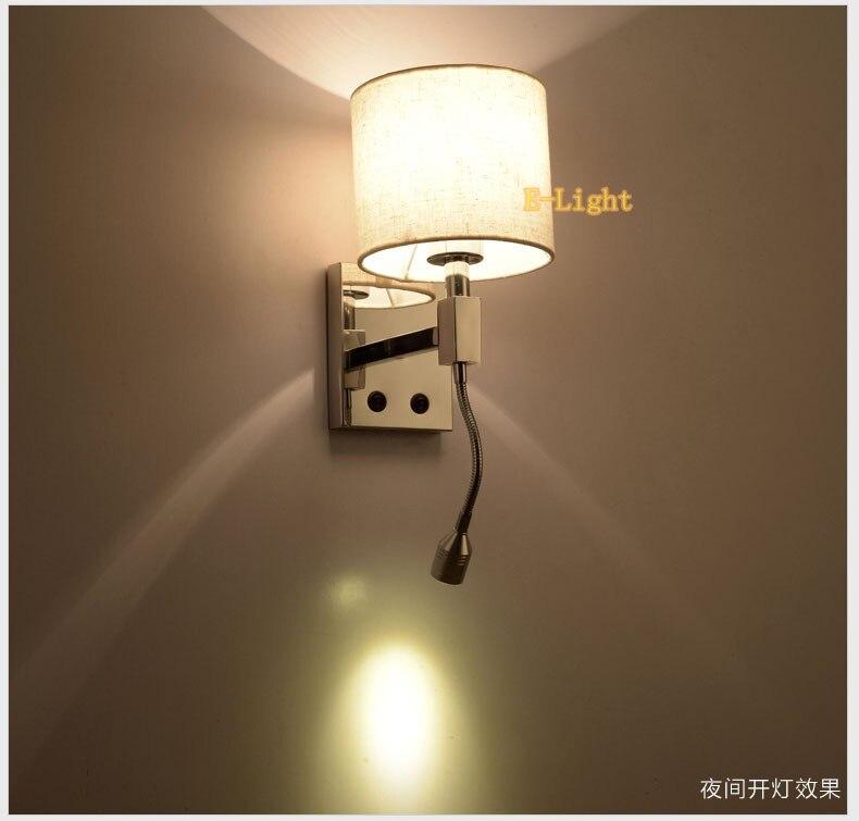 Schlafzimmer Studie Wand Nachtlese Wandleuchte Wohnzimmer E27 Lampen Beige Stoff Lampenschirm Sackleinen Abdeckung Flexible Schlauch In