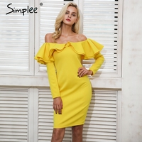 Simplee Elegant Backless Sexy Winter Dress Women Ruffle Autumn Dress Yellow Cold Shoulder Christmas Dress Vestidos