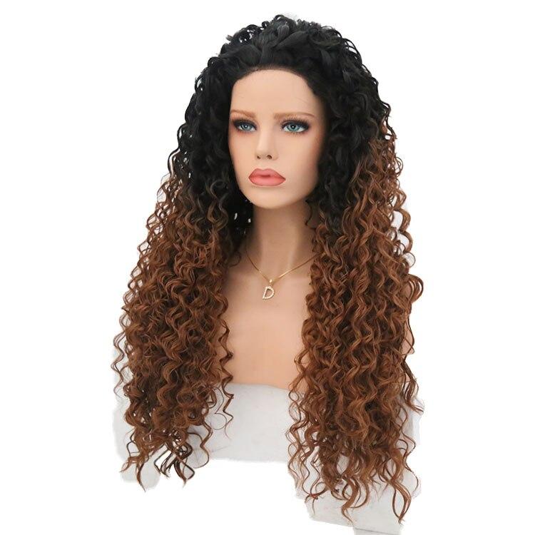 QQXCAIW Longo Kinky Curly Peruca Dianteira Do Laço Sintético Para As Mulheres Ombre Marrom Perucas de Cabelo Artificial Preto