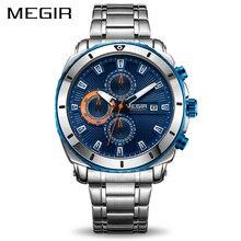 MEGIR Chronograph kuvars erkek saati lüks marka paslanmaz çelik iş bilek saatler erkekler saat saat zaman Relogio Masculino