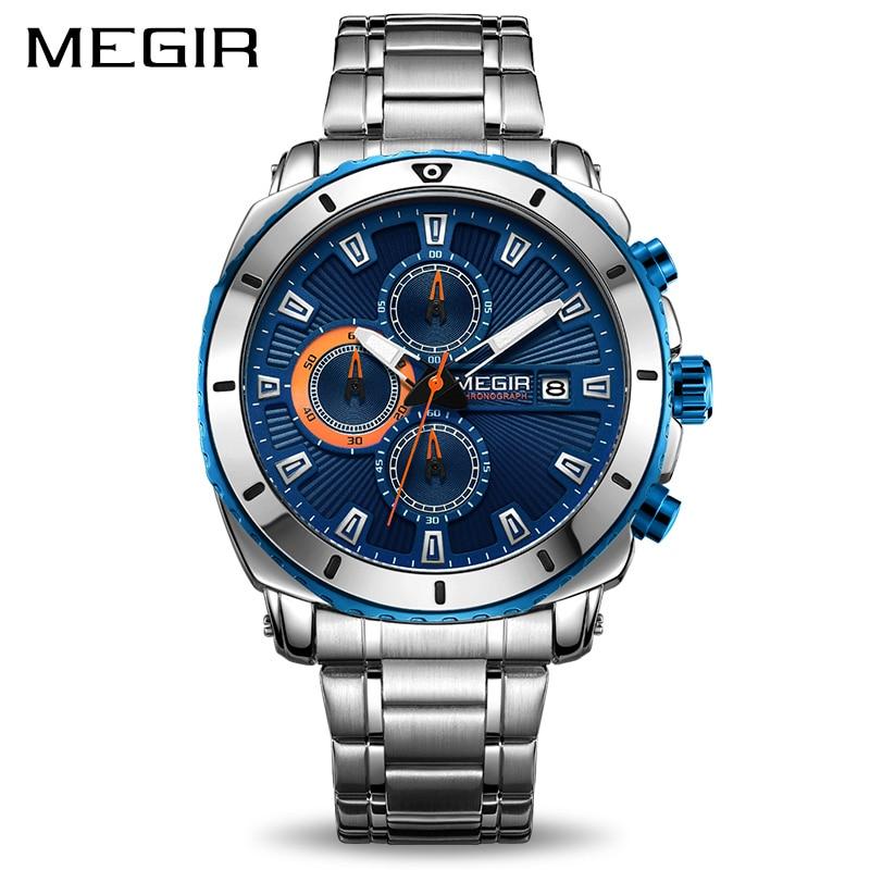 MEGIR chronographe Quartz hommes montre de luxe marque en acier inoxydable montres d'affaires hommes horloge heure Relogio Masculino