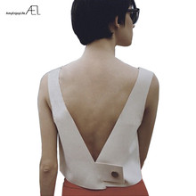 AEL модный белый короткий жилет с v-образным вырезом пикантные топы с открытой спиной женская одежда летняя Высококачественная Женская Повседневная Изысканная одежда