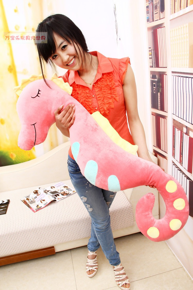 lovely plush sea horse toy the cartoon sea horse soft big stuffed toy about 140cm pink