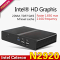 N2920 intel mini pc caixa de tv windows 10 sistema barebone fanless nettop computador desktop quad-core processador htpc hd gráficos wifi