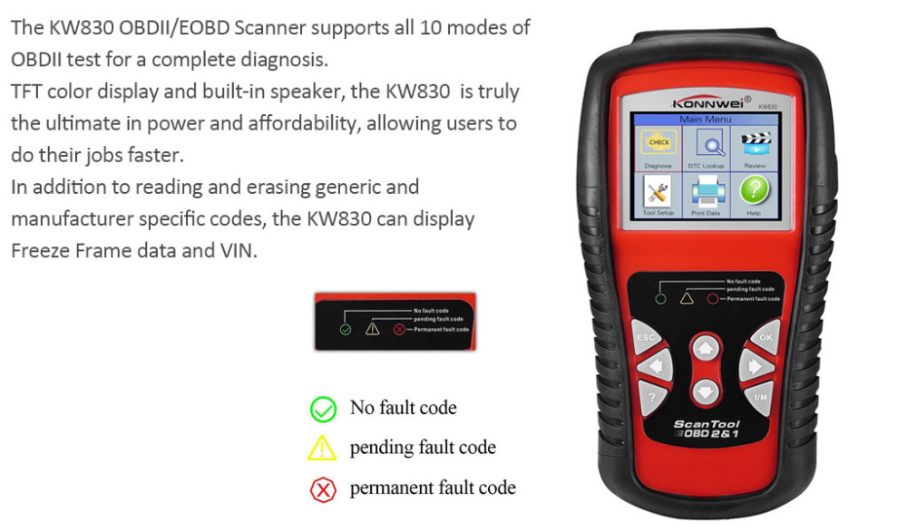 Hot Sales KW830 AL519 OBD2 EOBD Car Fault Code Reader Scanner Automotive Diagnostic Code Readers & Scan Tools Can Test Battery hitag2 transponders programmer hot sale diagnostic tool auto code reader fault reader car accessories free shipping