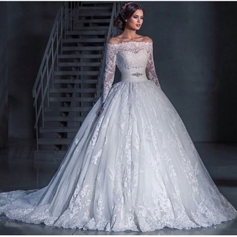 Boat Neck Long Sleeve Wedding Dresses 2016 Elegant Beaded Waist ...