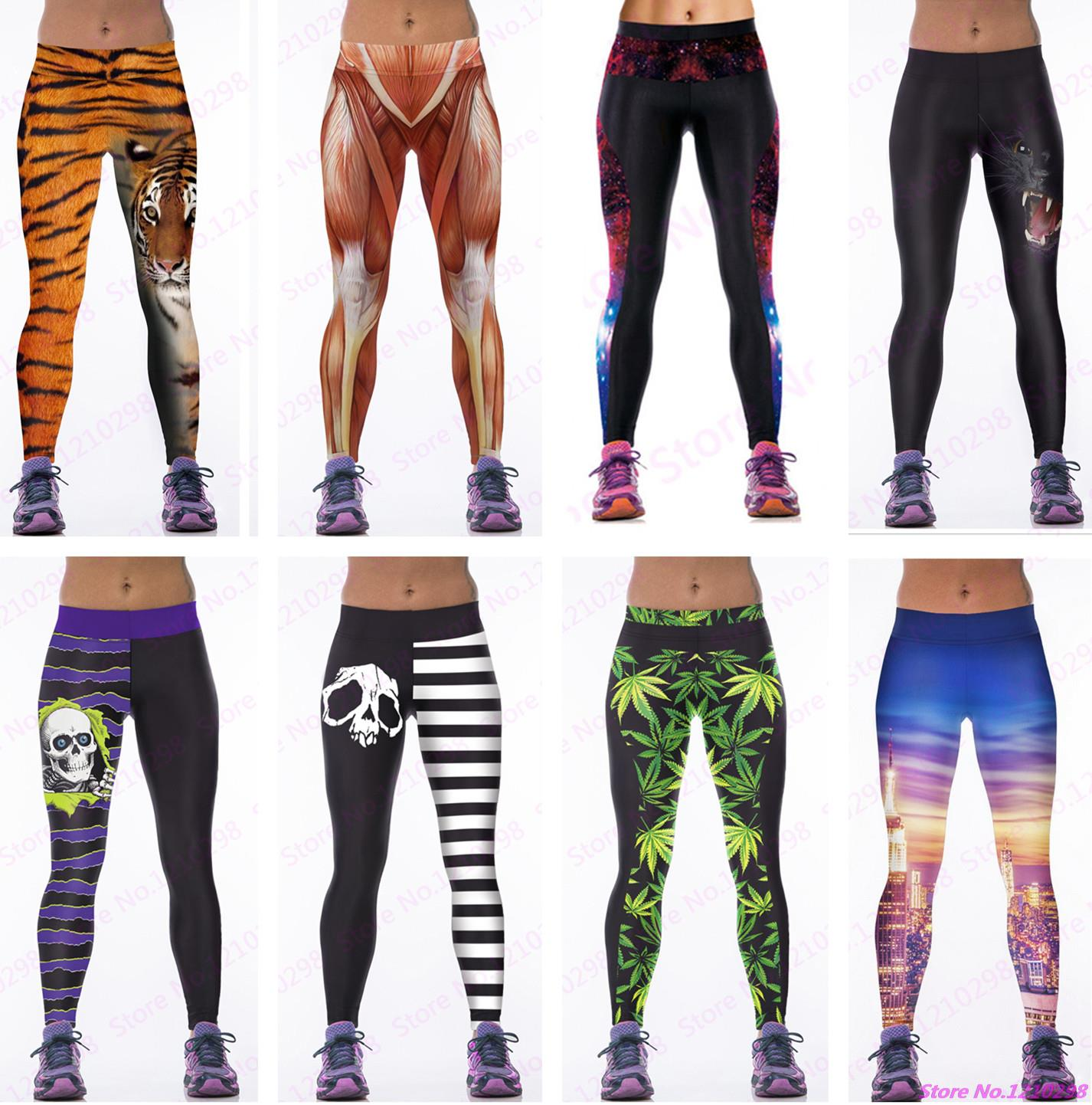 35f233cb9d Sexy Women Yoga Pants 3D Print Animal Tiger Muscle Skulls Leaves Printing  Running Pants High Waist Female Sports Skinny Leggings