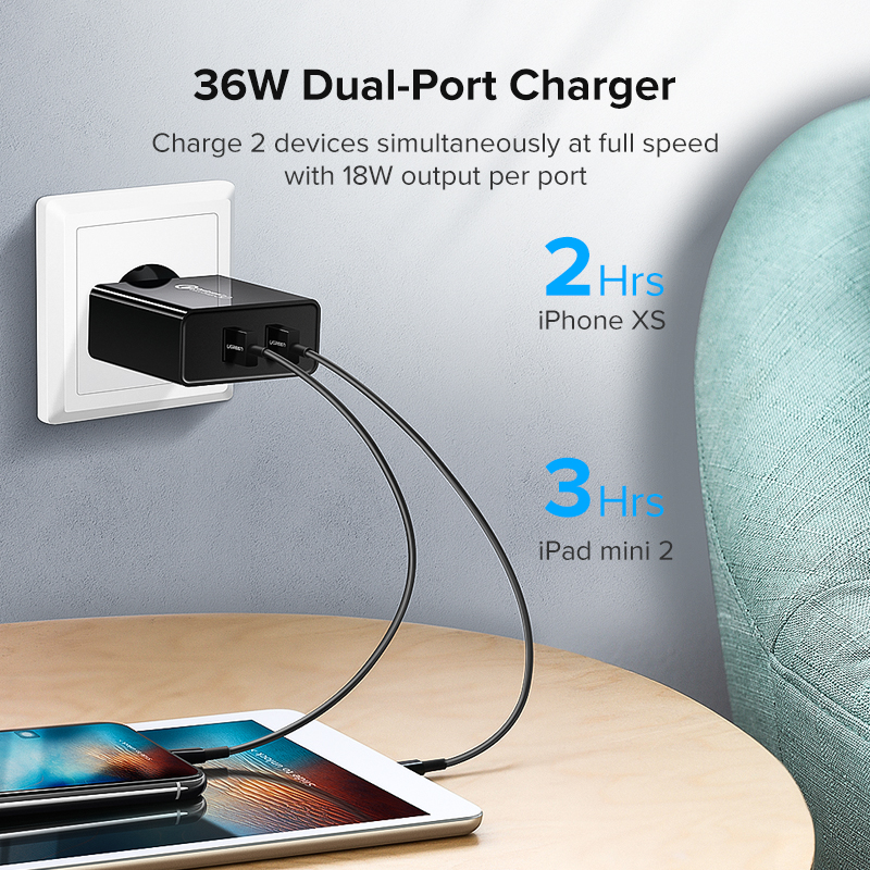 Image 3 - Ugreen Fast Charger Quick charge 3.0 QC 36W USB Charger for iPhone QC3.0 Wall Charger for Samsung s10 Xiaomi mi 9 Phone Charger-in Mobile Phone Chargers from Cellphones & Telecommunications
