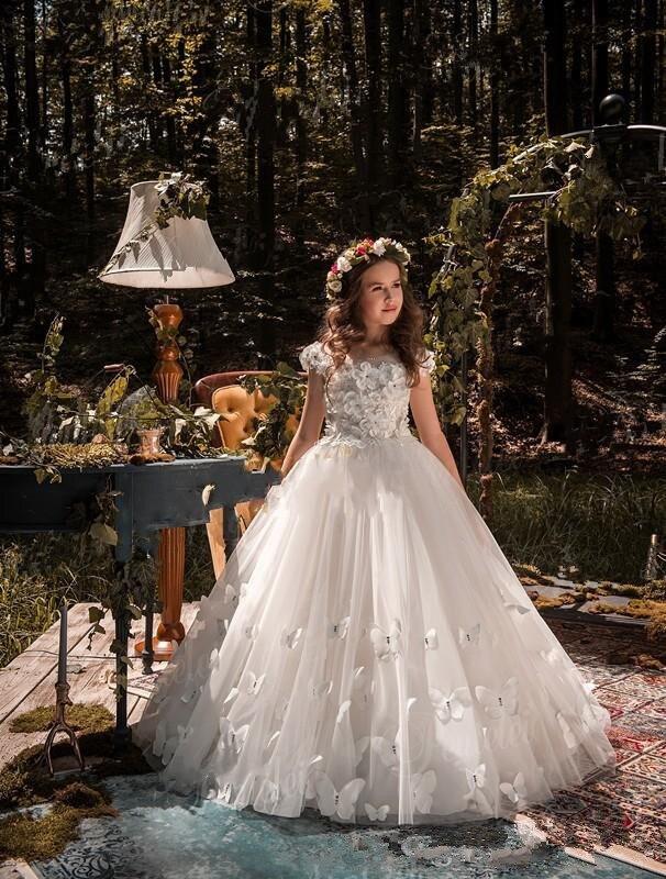Sweep tarin Butterflies 3D   Flowers   Jewel Kids Formal 2019 Custom Made Tulle Covered Back   Flower     Girl     Dresses