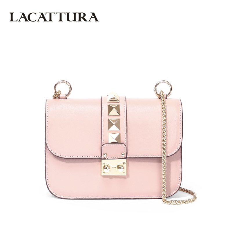 LACATTURA Luxury Handbag Designer Women Leather Chain Shoulder Bag Fashion Small Messenger Bags Rivet Clutch Crossbody for Lady lacattura small bag women messenger bags split leather handbag lady tassels chain shoulder bag crossbody for girls summer colors
