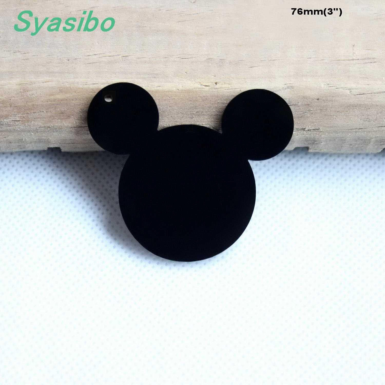 (5 unids/lote) llaveros acrílicos en blanco de 76mm llaveros de cabeza de ratón negro/claro corte láser-AC1058