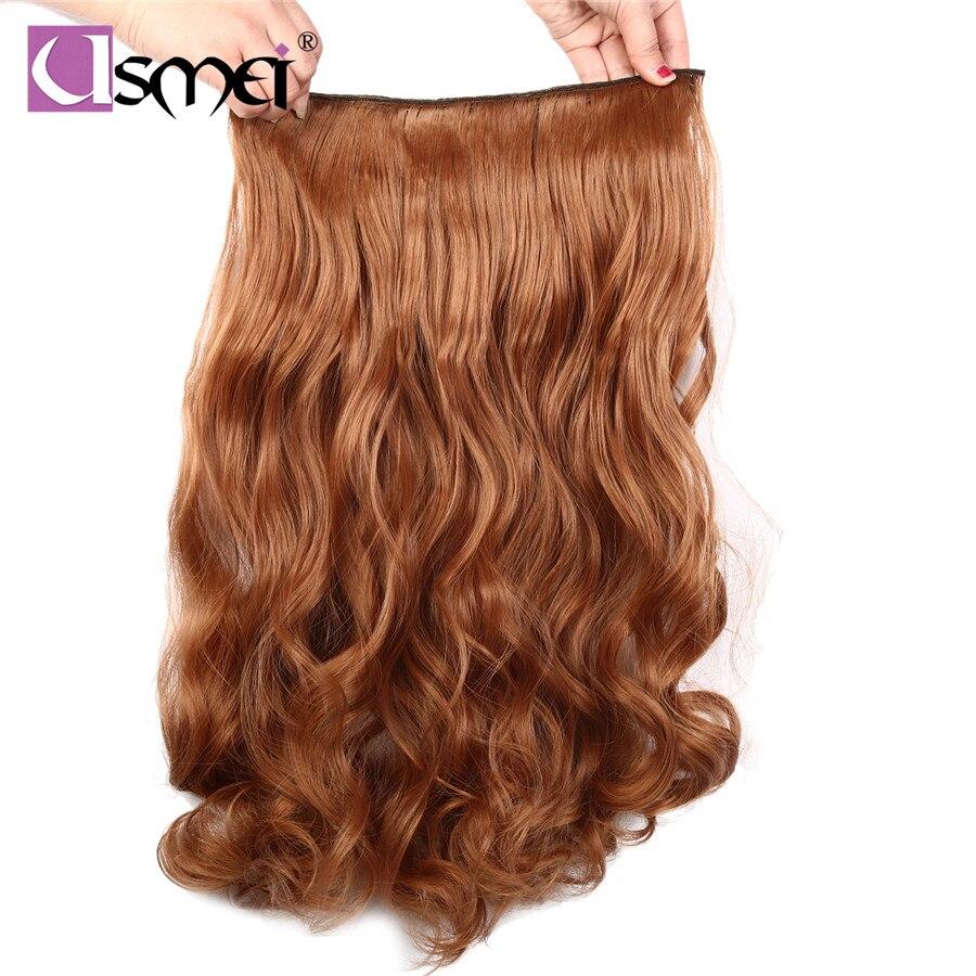 """USMei 24 """"60 ס""""מ ארוך גלי clip-בתוספות שיער סינטטי צבעוני שחור חום בהיר טבעי עמיד בחום סיבי שיער מזויף"""
