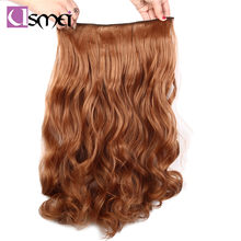 "USMei 24"" 60cm long wavy black brown blond colored synthetic clip-in hair extensions heat resistant natural fiber fake hair(China)"