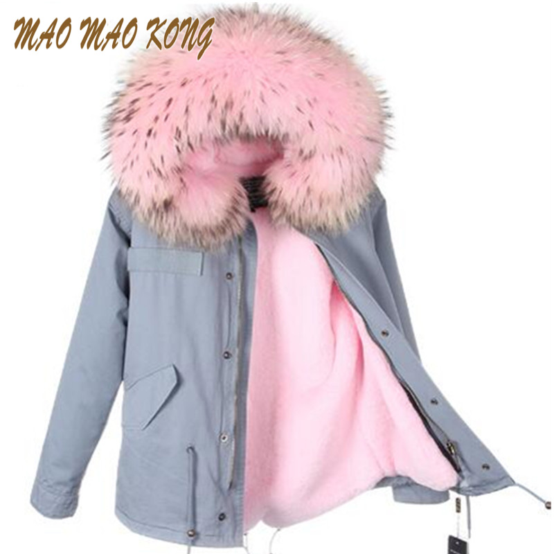 2017 New Women Winter Large Real Raccoon Fur Collar Army Green Jacket Coats Thick Parkas Hooded Outwear 5 Day Delivery time