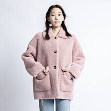 2019 winter real  fur jacket 30% sheep faux coat women festival mex fluffy kawaii short clothes new arrival