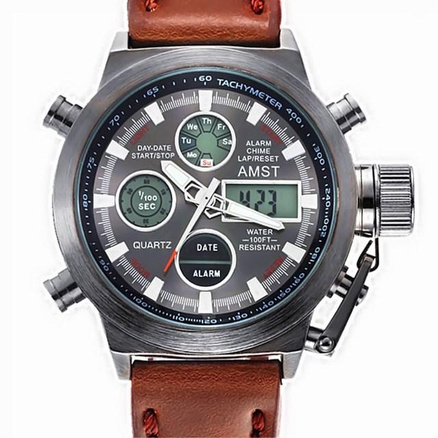 Watch AMST Dos Homens Marca de Moda Esporte Exército À Prova D' Água Pulseira de Couro New Digital-relógio de Quartzo-relógio de Mergulhador Relogio masculino 2016