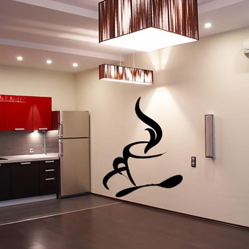 dctop cuchara y humeante taza de caf etiqueta de la pared sala de estar decoracin del