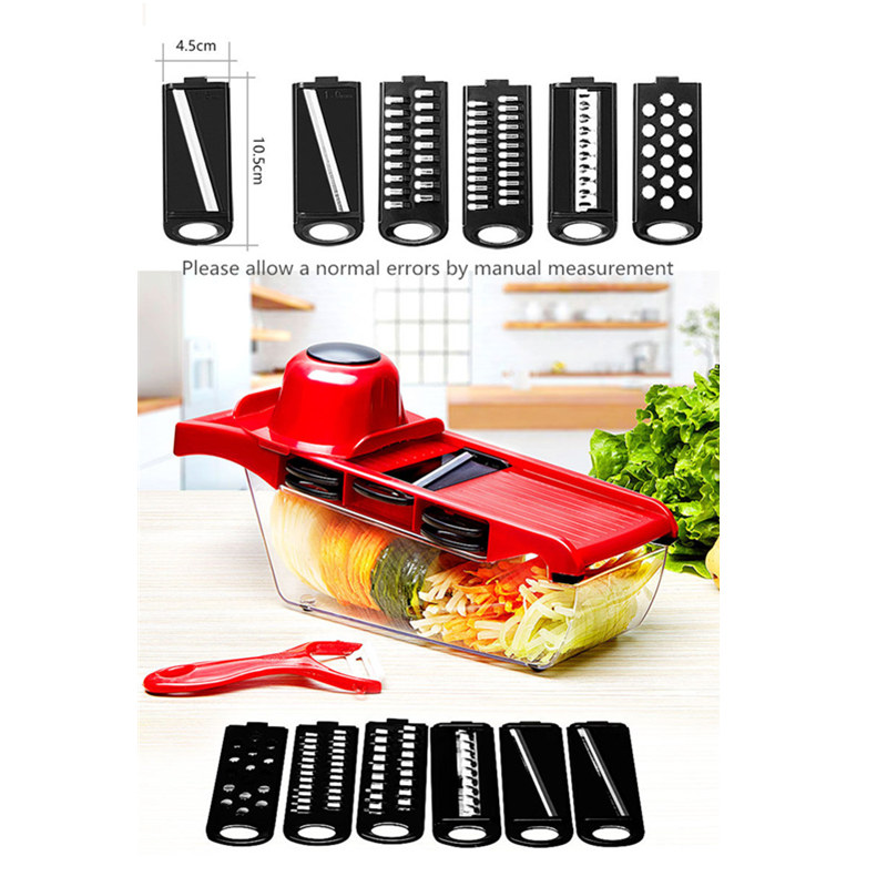 Multi functional Vegetables Cutter Manual Kitchen Tools Household Potato Carrot Slicer With Six Type Blades Cooking Shredder in Manual Slicers from Home Garden