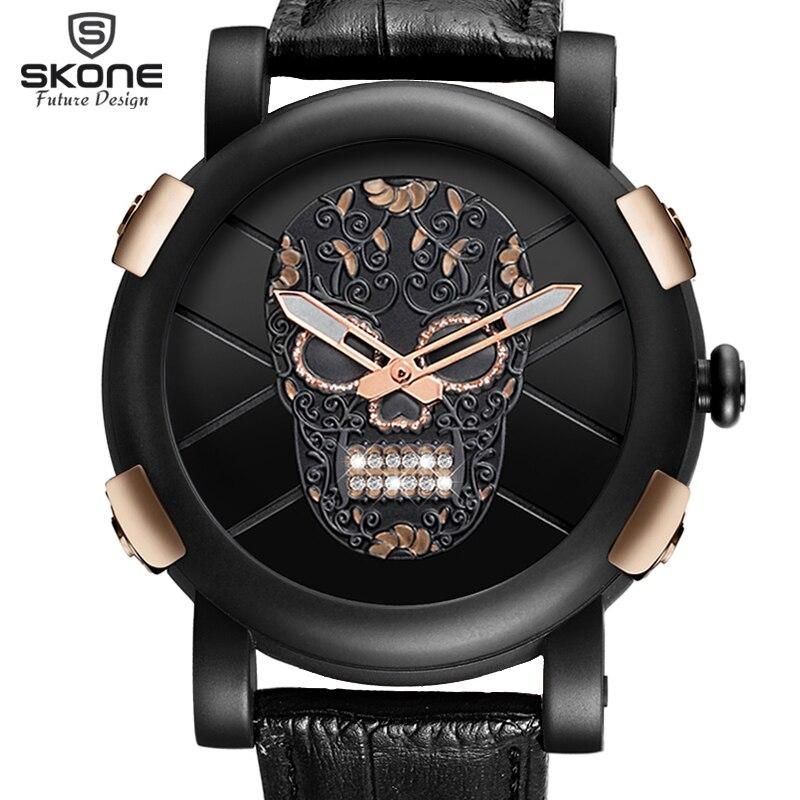 Hot Dropship Einzigartige SKONE Pirate Skeleton Schädel Quarz Männer Uhren Luxus Wasserdichte Sportuhr Relogio Masculino