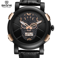 Hot Dropship Unique SKONE Pirate Skeleton Skull Quartz Men Watches Luxury Waterproof Leather Men Sports Watch