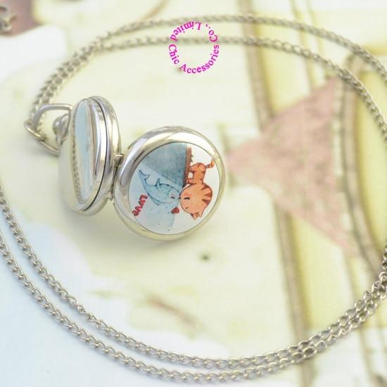 сребро класически сладък котка - Джобни часовници - Снимка 2