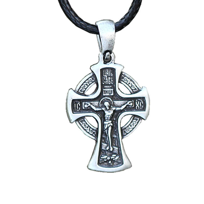 1Pcs Jesus Necklace Pagan Pendant Cross Jesus Jewelry Talisman Chokers Son of god Bless Every One Drop Shipping