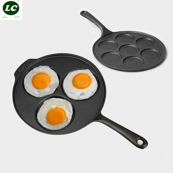 Cast Iron Frying Pan General Unglued Uncoated Cooker Thickened single-handle Egg Eumpling Fry Pan Cast iron Devide Hole