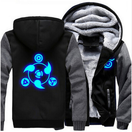 Unisex Naruto Akatsuki Cosplay Luminous Thicken font b Hoodie b font Cold Proof Coat Jacket font
