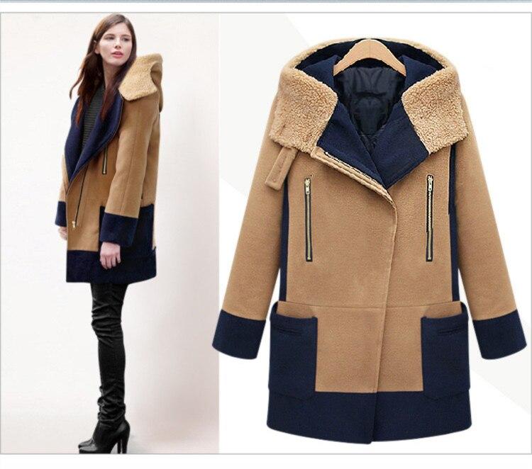 b1a517a958c Women Winter Hooded Wool Coat Plus Size 5XL Color Patchwork Cotton ...