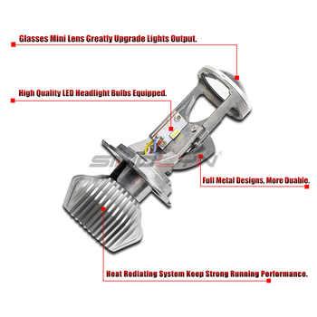 Sinolyn Bi-LED Lens H4 9003 Mini LED Projector Headlight Lenses Tuning 1.5 60W 5500K Automobiles Kit Car Lights Accessories DIY