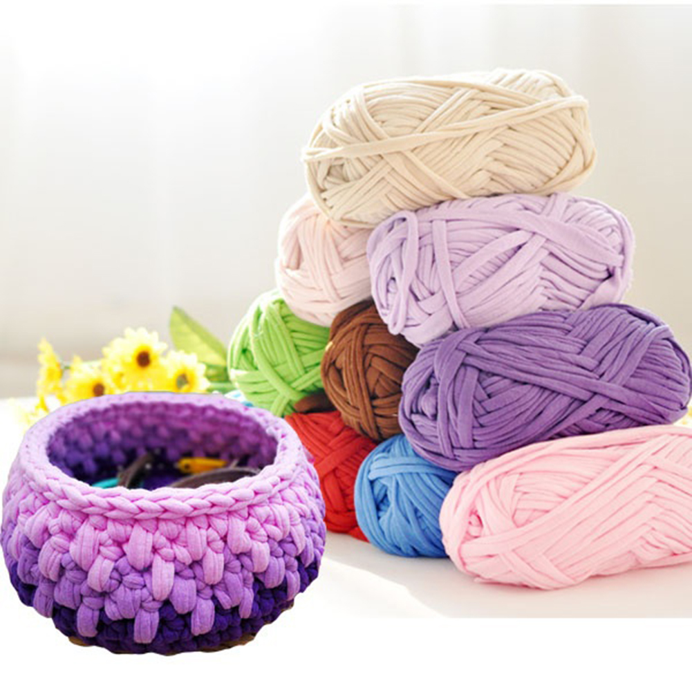 1Pc Hand-knit Woven Thread Thick Yarn Basket Blanket Carpets Yarn Cozy Cotton Wool Knitting Braided DIY Crochet Fancy Cloth Yarn