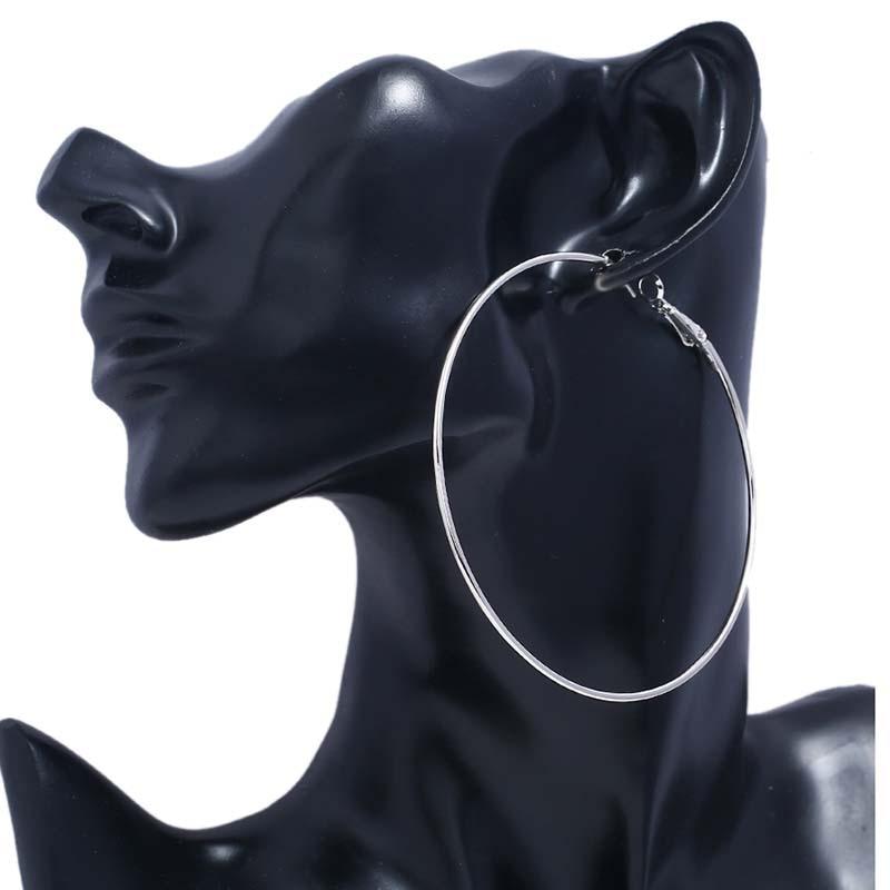 MJARTORIA Brand Sliver Big Hoop Earrings Smooth Circle Earrings Hot Sale Basketball Brincos Loop Earrings For Women Jewelry