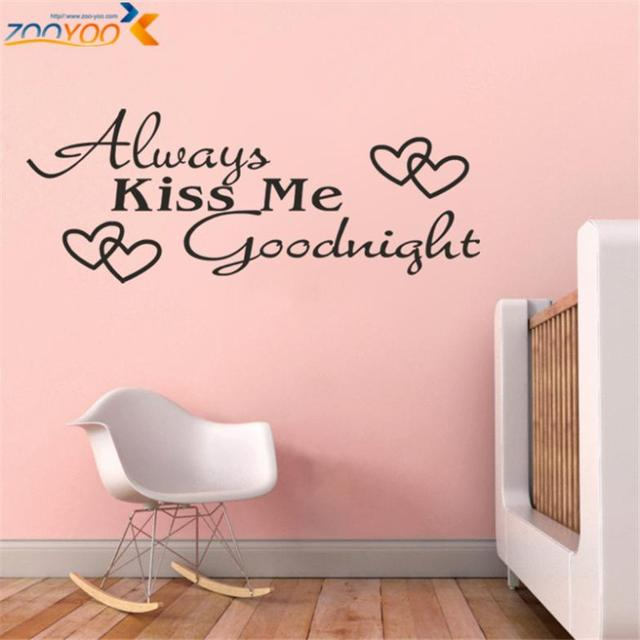 always kiss me goodnight creative quotes wall decals zooyoo8053 ...