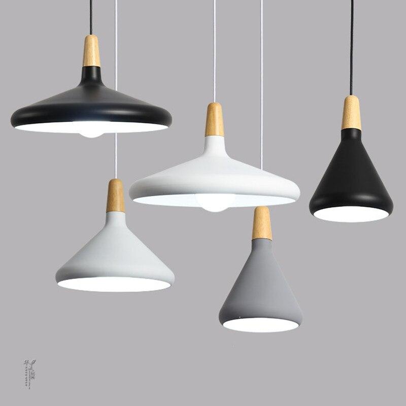 Plafonniers suspendus modernes E27 aluminium bois pendentif lumières lampe italienne maison restaurant comptoir décoration éclairage