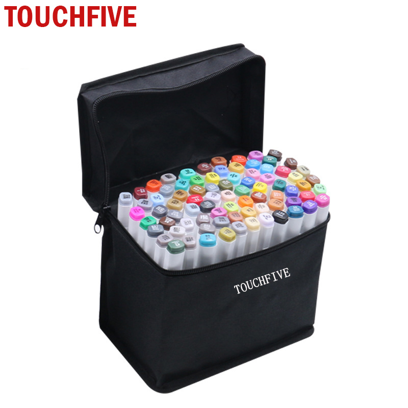 TOUCHFIVE Painting Art Mark Pen Alcohol Paint Marker Pen Manga Cartoon Graffiti Sketch Double Headed Art Markers Set Designers manga design 24 color three generations oily alcoholic paint mark pen permanent marker sketch double headed copic markers