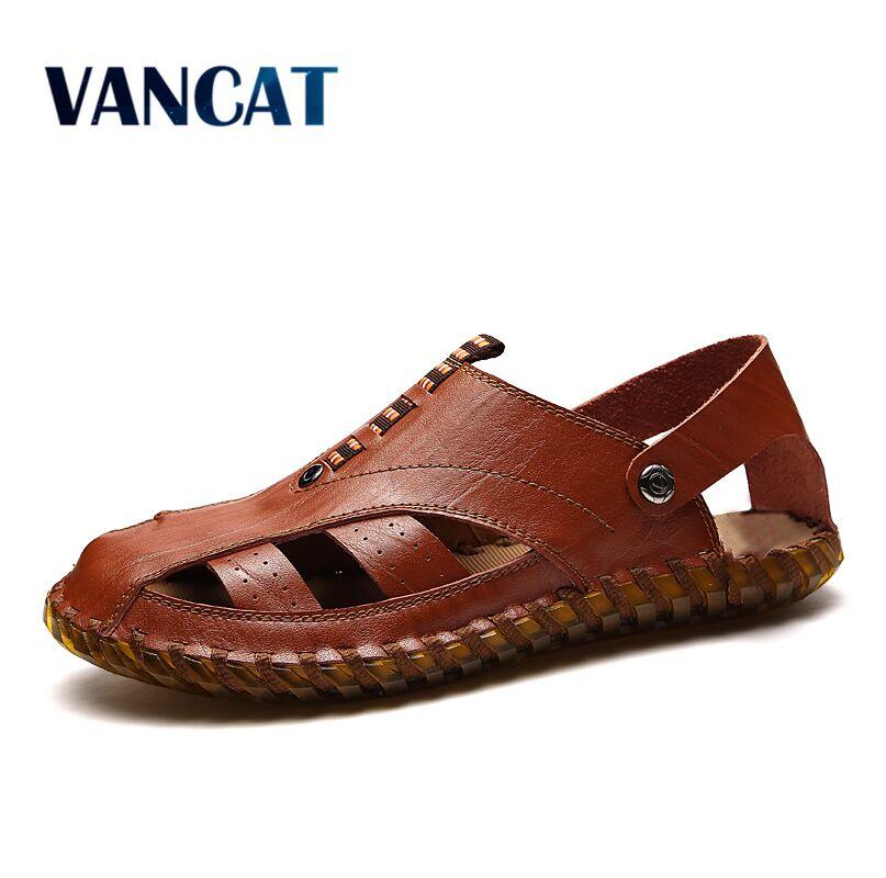 Vancat Mens Sandales En Cuir Véritable D'été 2018 Nouvelle Plage Hommes Casual Chaussures Sandales En Plein Air Taille 38-44 Mode Hommes chaussures