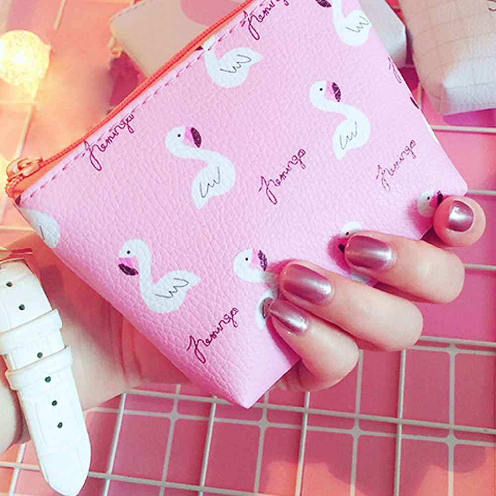 1 шт. популярный женский кошелек с рисунком Фламинго клубники пакет на застежке для девочек и мальчиков мини-кошелек из кожи ПУ Портативный Сумочка