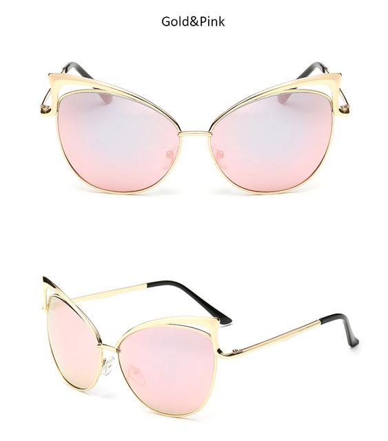 Sexy Lady Cat Eye Sunglasses Women Metal Big Frame Brand Designer Mirror Cateye Sun Glasses Vintage Female Vogue Celebrity Shade