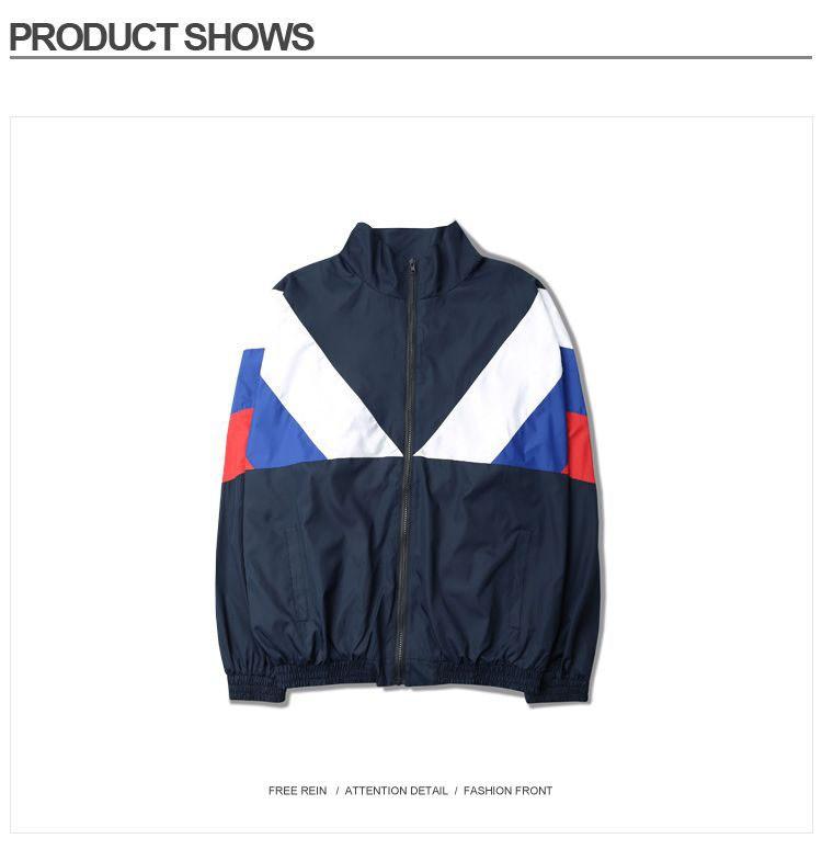 Men Jacket Gosha Rubchinskiy Classic Navy Tricolor Sport Long sleeve Windbreaker Jackets Hiphop Skateboards Couples Outwear S-XL (21)