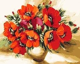 Mahuaf X547 Red Poppy Kwiaty Diy Obraz Olejny By Numbers Ręcznie