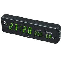 온도와 습도 디스플레이와 전자 led 벽시계 홈 알람 시계와 현대 led 시계 eu 플러그 디지털 led 시계