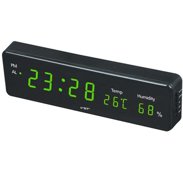 Электронный светодиодный настенные часы с дисплей температуры и влажности дома современный LED часы с будильником ЕС Plug цифровой светодиодный часы