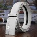 2017 hombres Ratchet Cinturón Plano Blanco Cinturón de Hebilla Automática 35mm Ancho Feragamo Primera Marca de Lujo Vestido de Boda de la Correa