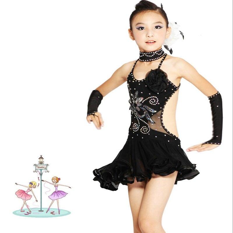 2016 High quality Cheap Kids Latin Dresses Competition Ballroom Dance Skirt for Children On Sale