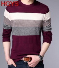 Fall 2017 young men's new round collar pullovers Thin long sleeve striped sweater