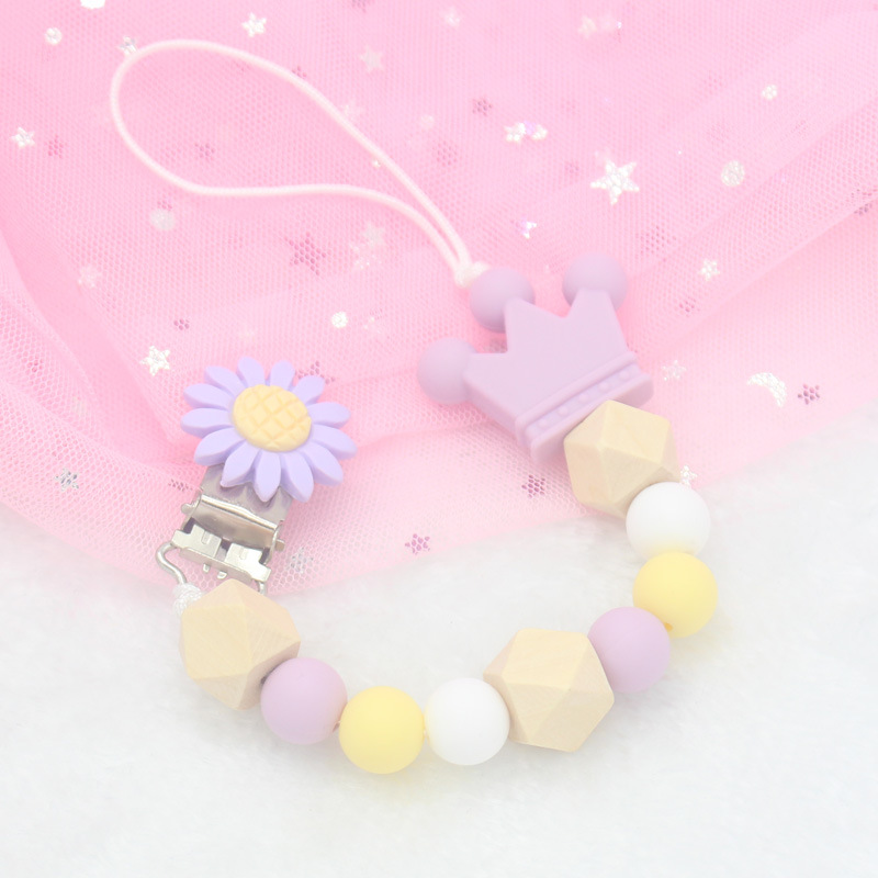 Newborn Silicone Teething Pacifier Clips Safe Crown Silicone Beads Flower Pacifier Chain Holder For Baby Chew Toy
