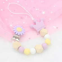 Newborn Silicone Teething Pacifier Clips Safe Crown Silicone Beads Flower Pacifier Chain Holder For Baby Chew Toy(China)
