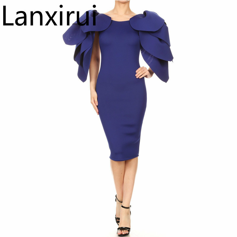 Latest Design Blue Fashion Multi-layer Flare Sleeve Bodycon Dress Plus Size Woman Night Party Wear Package Hips Midi Dresses XXL