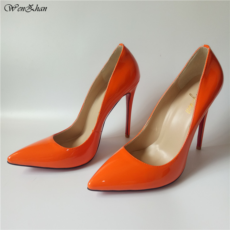 Orange Thin Heels Shoes Stiletto Style 12CM Nice Woman High Heels Patent Leather Pointed Toe Women Pumps In Many Colors 86-21