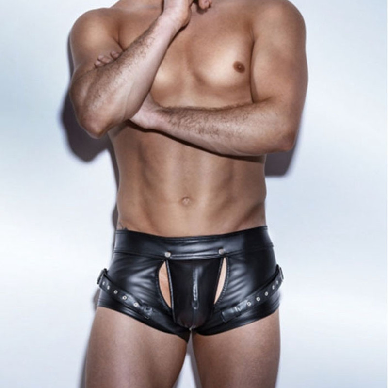 Hot Sexy Men Faux Leather Short Pants Wetlook Open Cortch Shorts Clubwear Bondage Gay Fetish Latex Shorts Pole Dance Lingerie